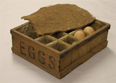 This egg box was used for posting eggs during the war.