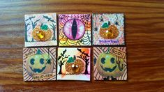 By Kae. Cork Art, Artist Trading Cards, Happy Halloween, Minions, Coasters, Miniatures, Painting, The Minions, Coaster