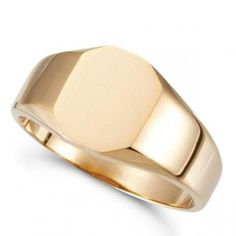 Customizable Signet Ring w/ Octagon Shape Top in 14k Rose Gold 11x9mm-Allurez.com