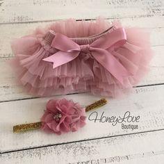 SET Vintage Pink Dusty Rose Mauve tutu skirt bloomers diaper cover, pearl rhinestone flower glitter headband bow, newborn toddler baby girl by HoneyLoveBoutique