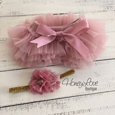 SET Vintage Pink Dusty Rose Mauve tutu skirt bloomers diaper cover, pearl rhinestone flower glitter headband bow, newborn toddler baby girl by HoneyLoveBoutique