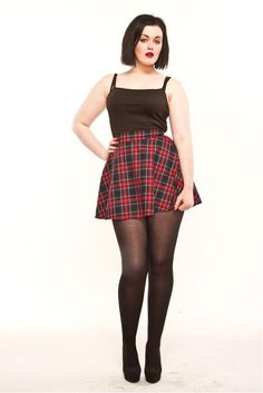 Flared mini skirt made from a red blue tartan,that measures in length It has a wide waistband. and fastens at the back with zip . would recommend ordering one size up. Plus Size Mini Skirts, Dress Plus Size, Flared Mini Skirt, Skater Skirt, Denim Mini, Thing 1, Short Skirts, Winter Fashion, Fashion Top