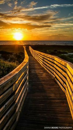 Sunrise at Amelia Island, Fernandina beach, Florida. - Boardwalk to Heaven - by Dawna Moore