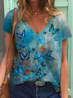Mode Shorts, Shirt Bluse, Summer Shirts, Cotton Shorts, Fashion Prints, Sleeve Styles, Casual Shirts, Tee Shirts, T Shirts For Women