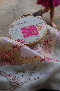 Sweet embroidering on quilt