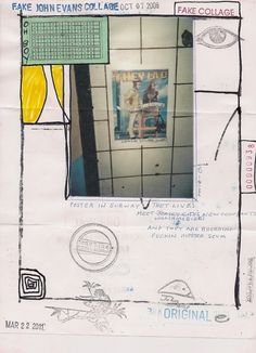 RECEIVED: Oh Boy's John Evans Fake Collage Add-and-Pass Project (Burbank, California, USA) - International Union of Mail-Artists With Ursuline Duck and upside down 'e'