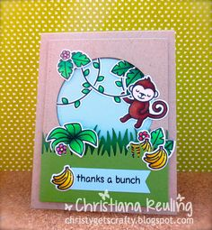Good video. Lawn Fawn Critters in the Jungle stamps and dies, Grassy Border die; stitched circle stackables die; stitched journaling set die; Crafter's Companion Kraft card base; My Favorite Things Snocone blue cardstock; Wplus9 Green Acres cardstock; Scotch foam mounting tape;