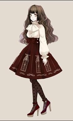 lolis anime with old dresses Manga Girl, Anime Art Girl, Anime Girls, Gothic Anime Girl, Estilo Lolita, Illustration Mode, Illustrations, Anime Outfits, Girl Outfits