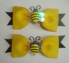 Yellow Bumble Bee Hair Bows - TWO small clips