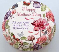 Personalised Cakes For All Occasions - Baker Days Personalised Traditional Floral Mother's Day Cake with Butterflies