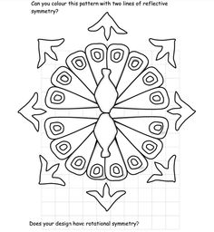 Share: Title: Rangoli Peacock Description: An activity based on Rangoli Patterns to provide opportunities for illustrating reflective and rotational symmetry. The Peacock is the Indian national bir… Teaching Math, Teaching Resources, Teaching Ideas, Rotational Symmetry, Rangoli Patterns, Diwali Rangoli, Primary Maths, Elementary Art, Outline