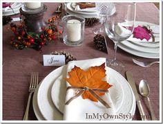 Thanksgiving Table setting - Dollar Store leaves.