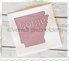$2.95Vintage Sketch Style Arkansas Home Machine Embroidery Design