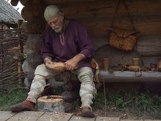 Woodworker at Wolin Festival in Poland in 2008