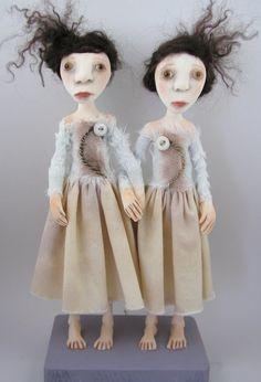 Contemporary Folk Art dolls Sister Twins doll by CindyRiccardelli, $200.00