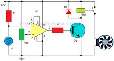Control de temperatura con ventilador y comparador - Permite controlar la activación y desactivación de un ventilador de 12V con la ayuda de un termistor.