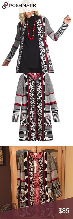 "Gorgeous Long sweater cardigan Long soft sweater with a mix of fiercely chic prints. Open front, length is a little over 35"" machine wash. Pic says P but it is regular length Chico's Sweaters Cardigans"