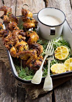 Portuguese Chicken Skewers with Yogurt Dip