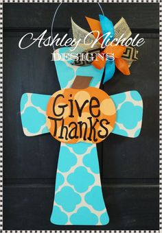 Give Thanks Pumpkin Cross Door Hanger Door by DesignsAshleyNichole, $55.00