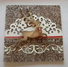 Beautiful Reindeer Christmas Card...with paper lace trim.