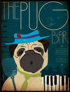 Pug Blues Bar original graphic illustration on canvas 18 x 24 x 1.5 by Stephen Fowler. $180.00, via Etsy.