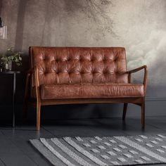 Dempsey Genuine Leather Loveseat George Oliver