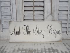 Shabby Chic Wedding Sign And The Story Begins Rustic Sign on Etsy, $12.00