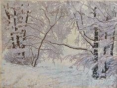 ✨ Paul Leschhorn (1876-1951) - Rauhreif, Farb-Holzschnitt, rechts unten signiert, links unten betitelt ::: Rime Ice, Colour Woodcut