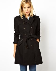 $109, Black Trenchcoat: Asos Collection Classic Trench. Sold by Asos. Click for more info: http://lookastic.com/women/shop_items/167302/redirect