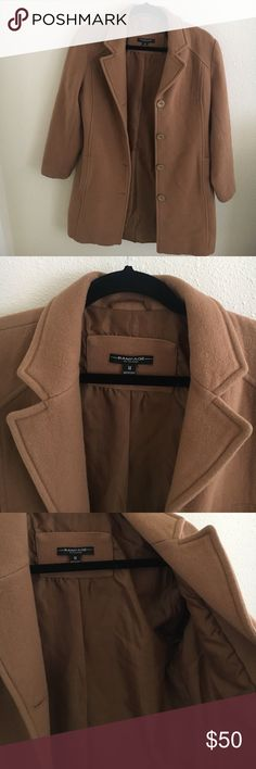 """Rampage Camel Coat Perfect for fall/winter! It's thick material so it will definitely keep you warm from the cold. Brand: Rampage, size M. Slight pilling, worn a couple of times but overall EUC. No tears or stains. Two pockets on the side and four buttons in front. Length is 34"""", arm sleeve length is 22.5"""", waist is 17"""" across one side (photos of measurements shown). No trades! Rampage Jackets & Coats"""