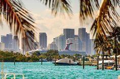Miami Sunset, Ocean Drive, South Florida, Marina Bay Sands, Palm Trees, Skyline, Boat, Building, Outdoor Decor