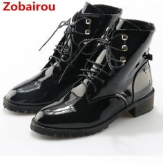 fdb53d53cb9 2018 Black patent leather lace up ankle boots for woman botas mujer flats  punk shoes motorcycle