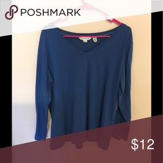 Soft dark teal long sleeve shirt Never worn dark teal long sleeved shirt, v neck  size 3X runs a bit on the smaller size would say it might be better for an hour glass shape and someone in a size 2X  57% cotton, 38% polyester and 5% spandex Derek Heart Tops Tees - Short Sleeve