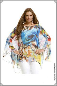 eff14798832ca Blouse multicolore voile transparent manche chauve-souris, véritable  articles été pour être au top de la mode femme forte.