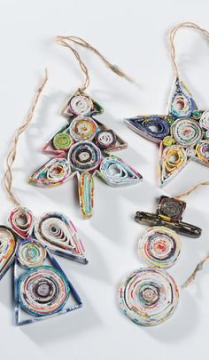 recycled christmas crafts | Recycled paper hanging christmas decorations > Recycled Paper Crafts ...
