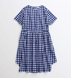 blue + white checked smock dress