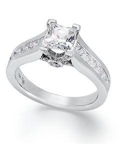 Diamond Ring, 14k White Gold Certified Princess-Cut Diamond Engagement Ring