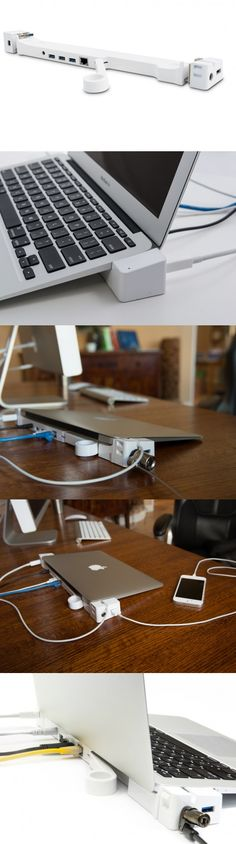 Your lightweight Macbook Air just got a whole lot more powerful with this stylish docking station. Turn your MacBook Air into a fully functional desktop system. No need to plug in cables each time you connect. Leave your cables plugged in. This full PRO version brings you, a powered 4-port USB hub and Ethernet, plus a Security Slot.
