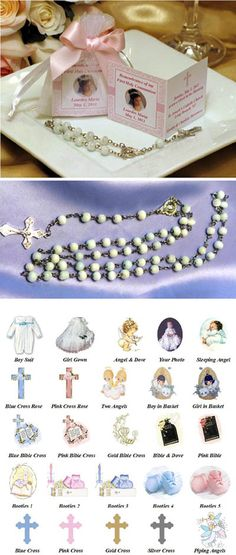 Baptism Christening Remembrance Card and Rosary in Organza Bag