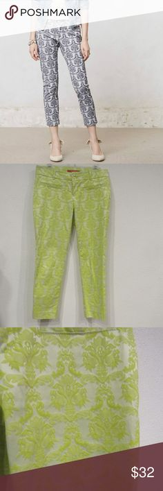 """Cartonnier Brocade Jacquard Charlie Trousers EUC Waist: 16.5"""" across Inseam: 25.5"""" Cotton, polyester, spandex no trades. 0905 Anthropologie Pants Trousers"""