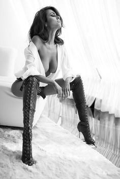 Hell yes, to these boots!!  Major Boot Porn!!  Wow that's so sexy.  Gorgeous sexy woman. Black and white photo.