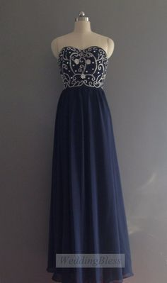 Navy Long Dress Long Formal Dress Rhinestone Long by WeddingBless, $118.00