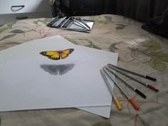 My first time Drawing a 3D on paper! Its completed abt at last (9am-4pm)