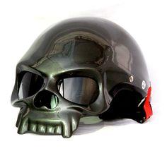 Unused Custom Air brushed Skull 409 Helmet (GREY) By Masei Helmet