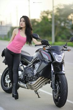 Girl & Honda CB650F Motorcycle Icon, Female Motorcycle Riders, Motorbike Girl, Triumph Speed Triple 1050, Honda Cb, Lady Biker, Biker Girl, Cb 650f, Women Riding Motorcycles