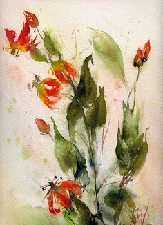"""AQUARELLE """"Chèvrefeuille"""" © 