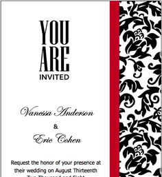 Black Red Wedding Invitations Template for Pages - Free iWork Templates Blank Wedding Invitation Templates, Printable Invitation Templates, Printable Wedding Invitations, Wedding Invitation Wording, Elegant Wedding Invitations, Invitation Ideas, Invites, Free Printable, Printables
