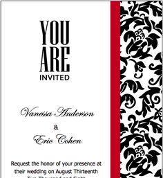 Wedding Invitation Wording: Black White And Red Wedding Invitation ...