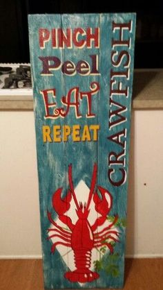 Crawfish Party, Seafood Boil Party, Louisiana Mardi Gras, Louisiana Art, Cajun Decor, Low Country Boil, Wood Art, Wood Crafts, Party Time