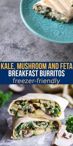 These freezer-friendly healthy breakfast burritos are packed with kale, mushrooms and feta. The perfect easy grab and go breakfast that will actually keep you full! Vegetarian Meal Prep, Lunch Meal Prep, Meal Prep Bowls, Slow Cooker Freezer Meals, Slow Cooker Recipes, Best Breakfast Recipes, Meal Prep For The Week, Make Ahead Meals, Breakfast Burritos